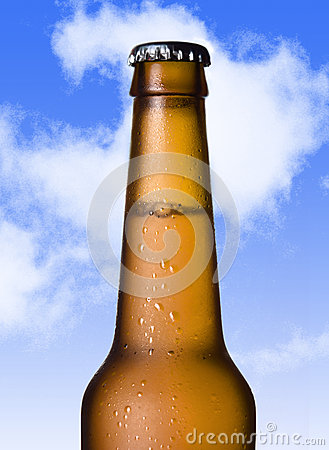 Free Macro Beer Golden Bottle Neck With Frost And Bubbles In Brown Glass  On Blue Sky Royalty Free Stock Image - 57245346