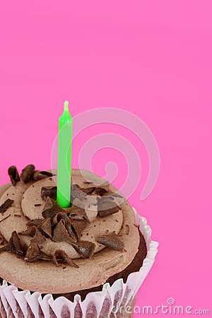 Macro chocolate cupcake focus on cake