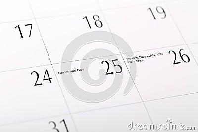 Macro Christmas date on calendar