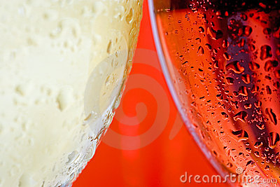 Macro close up wine glass and white and red or rose wine