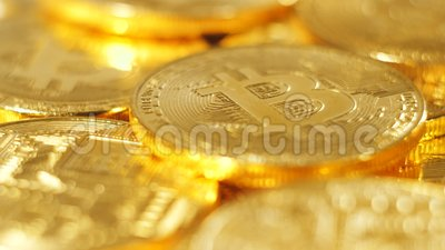 Macro Coins Heap of Worldwide Payment System Bitcoin. Macro gold metal coins heap of worldwide payment system bitcoin which currency protected from swindle stock video footage
