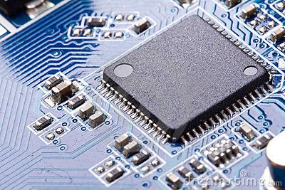 Macro of computer chip on motherboard