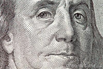 Macro del Benjamin Franklin dalla fattura del dollaro $100