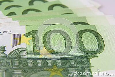 Macro del billete de banco del euro 100