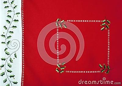 Macro del fragmento del mantel de la Navidad