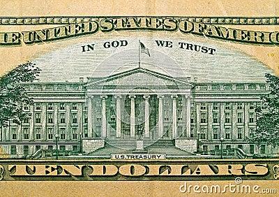 Macro detail of the US $10 Bill