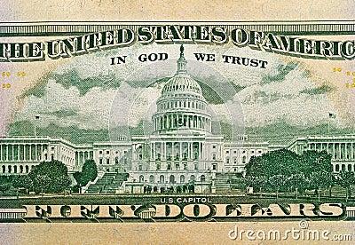 Macro detail of the US $50 Bill