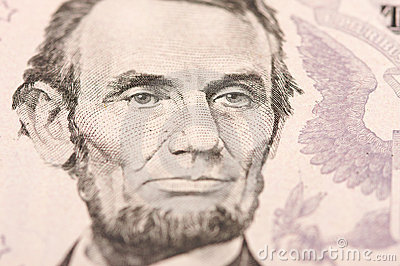 Macro of Five Dollar Bill s Lincoln