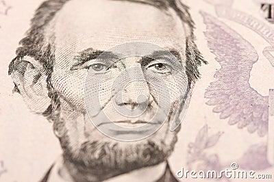 Macro of Five Dollar Bill s Lincoln