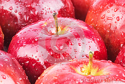Macro of fresh red wet apples