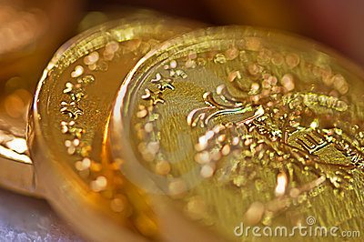 Macro of  gold coins