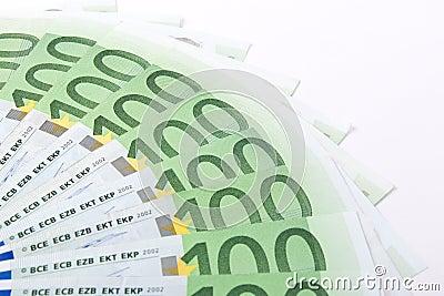 Macro hundred euro banknotes