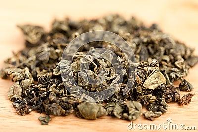 Macro of Jiaogulan tea dried leaves