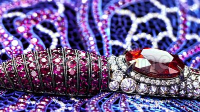 Jewelry with diamonds, extreme close up, not 3D, it`s video shooting only. Macro, natural rubies, sapphires, garnet, tilt shift lens bokeh stock video