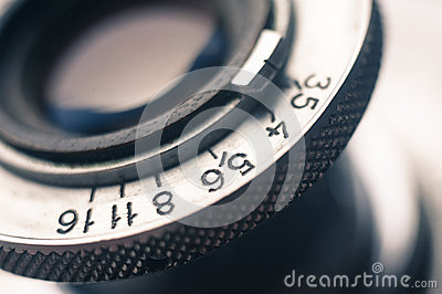 Macro of old retro film camera lens