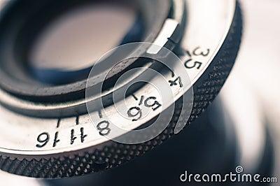 Macro of old retro film camera lens