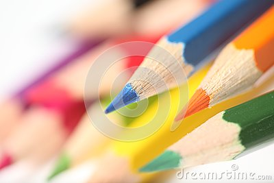 Macro pencil cluster points across left