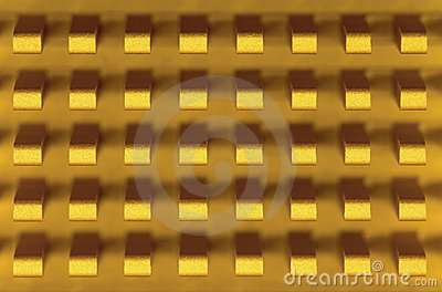 Macro-photo of golden metal radiator
