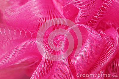 Macro of pink bath puff