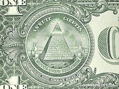 Macro reverse one us dollar bill