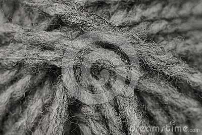 Macro shot of ball of grey wool or yarn
