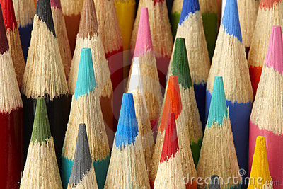 Macro shot of color pencils