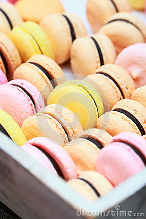Macro shot of colourful macaroons