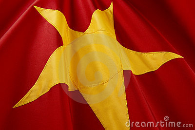Macro shot of Vietnamese flag