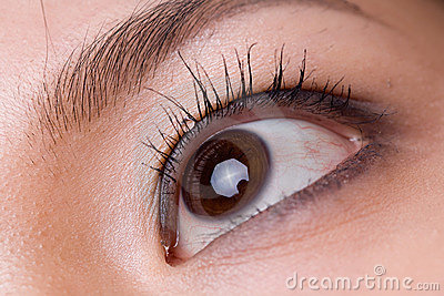 Macro shot of a woman s eye