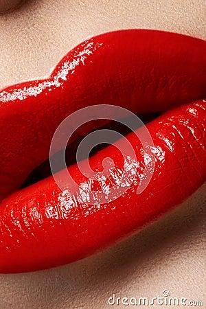 Macro tasty sexy lips and fashion lipstick make-up