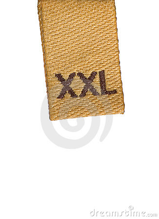 Macro of XXL size clothing label white fabric tag