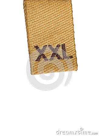 Macro of XXL size clothing label white fabric tag