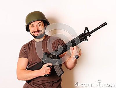 Mad armed man