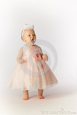 Mad Baby Girl in Party Dress and Hat