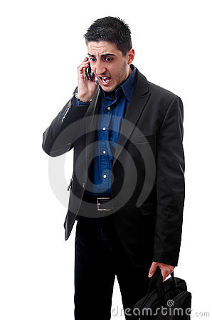 Mad business man on phone