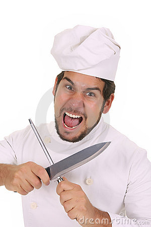 Mad chef sharpening a knife
