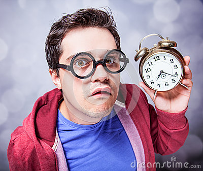Mad man with clock