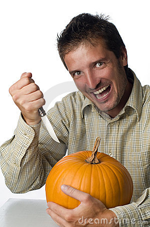 Mad Man Stabbing Pumpkin