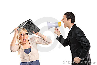 Mad man yelling via megaphone, woman covering