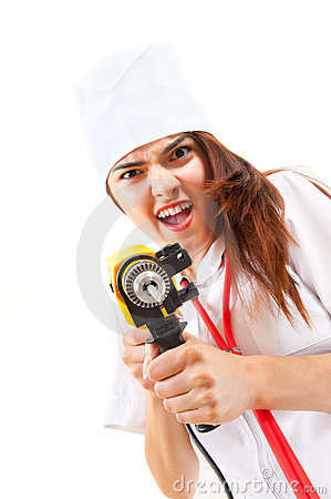Free Mad Nurse Wants To Drill You Stock Photo - 20850780