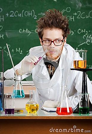 Mad professor tastes the liquid