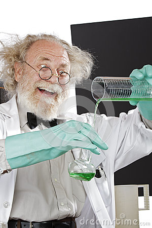 Free Mad Scientist Conducts Chemistry Experiment Royalty Free Stock Image - 26730996