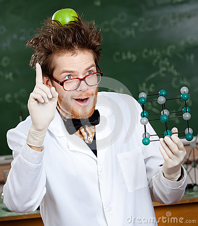 Free Mad Scientist With An Apple On His Head Stock Photo - 26597340