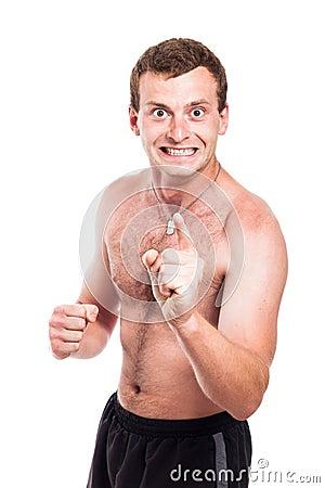 Mad shirtless man