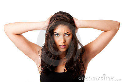 Mad woman holding head