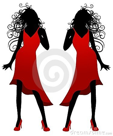 Madame en silhouette rouge de robe