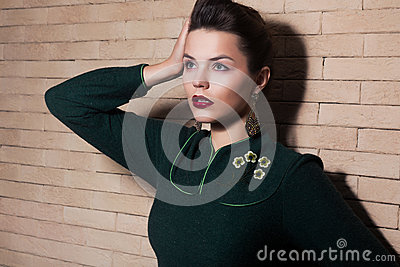 Madame élégante imposante de brune - féminité et harmonie