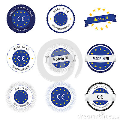 Free Made In EU Labels, Badges And Stickers Royalty Free Stock Photo - 28659045
