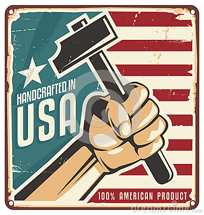 Free Made In USA Retro Metal Sign Stock Photo - 37023900