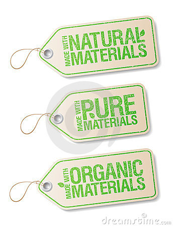 Made with Natural Pure Materials labels.